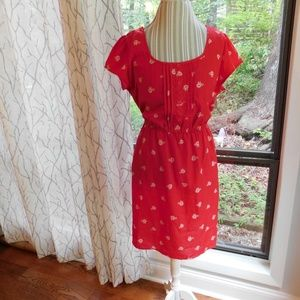 Red bicycle dress, retro hipster, fun styling, xxl